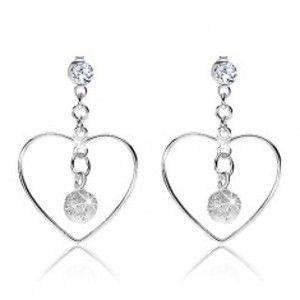 Stříbrné náušnice 925, obrys srdce, čirý krystalek Swarovski, blýskavá kulička I30.11