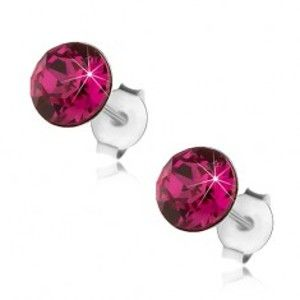 Stříbrné náušnice 925, kulatý krystal Swarovski v tmavě růžové barvě, 6 mm I40.10