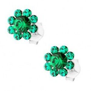 Stříbrné náušnice 925, tmavě zelený třpytivý kvítek, krystaly Preciosa I33.16