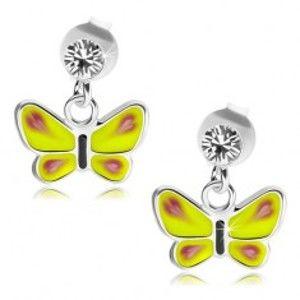 Stříbrné náušnice 925, žlutý motýl, čirý Swarovského krystalek PC15.14