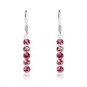 Stříbrné visací náušnice 925, kulaté krystaly Swarovski v odstínech růžové I29.08