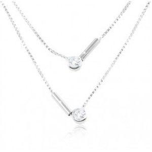 Stříbrný 925 náhrdelník, dvojitý řetízek, kulaté čiré zirkony a tyčinky SP87.13