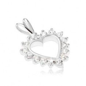 Stříbrný 925 přívěsek - kontura srdce s čirým zirkonovým lemem SP06.08