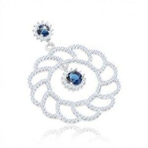 Stříbrný 925 přívěsek, velký blyštivý obrys květu, kulaté modré zirkony SP63.25