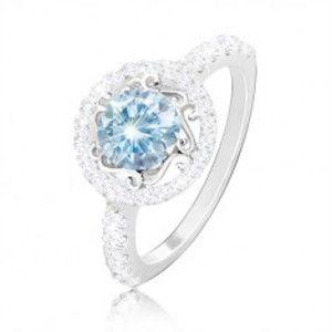 Stříbrný 925 prsten - světle modrý zirkon, ornamenty, zirkonový kruh a ramena M13.13