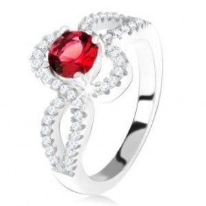Stříbrný 925 prsten, červený kulatý kámen, zatočená zirkonová ramena T23.17