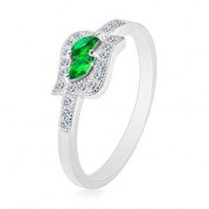Stříbrný 925 prsten, zelená zirkonová zrnka v čiré kontuře, rhodiovaný K06.03
