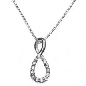 Stříbrný náhrdelník - osmička vykládaná zirkony X36.18