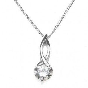 Stříbrný náhrdelník 925 - smyčka s kruhovým zirkonem na řetízku X35.18