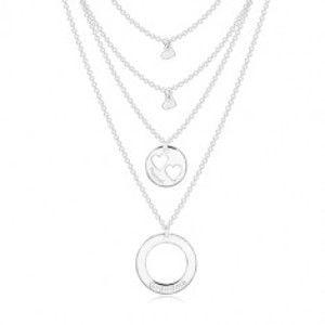 Stříbrný náhrdelník 925 - čtyři řetízky s přívěsky, kruhy a srdíčka, nápisy R31.18
