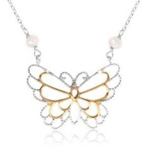 Stříbrný náhrdelník 925, kontura motýlka, vložené perleťové kuličky SP39.03