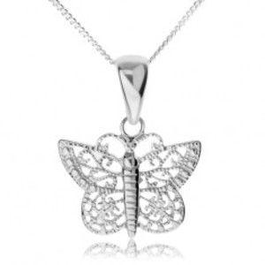 Stříbrný náhrdelník 925, lesklý motýl s filigránovými křídly SP60.11