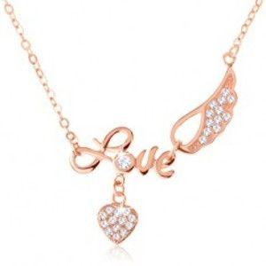 """Stříbrný náhrdelník 925, měděná barva, nápis """"Love"""", andělské křídlo, srdce SP60.17"""