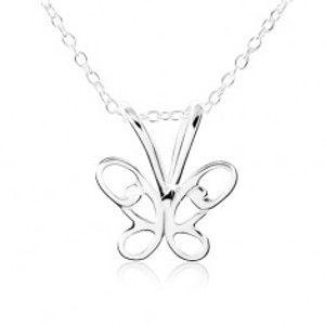 Stříbrný náhrdelník 925, motýlek s vyřezávanými křídly SP10.11