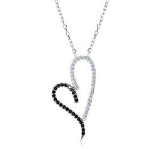 Stříbrný náhrdelník 925, obrys asymetrického srdce, čiré a černé zirkonky S09.07