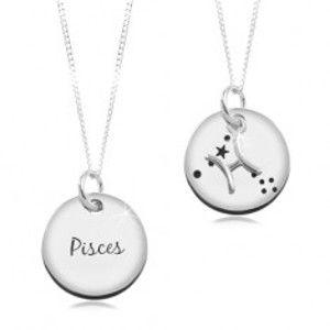 Stříbrný náhrdelník 925, řetízek a kruhový přívěsek - znamení RYBY SP14.26