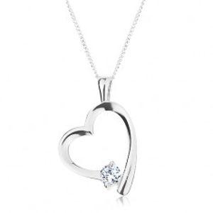 Stříbrný náhrdelník 925, řetízek a přívěsek, lesklá kontura srdce se zirkonem R45.19