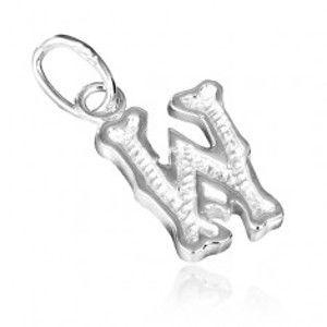 Stříbrný přívěsek 925 - písmeno W s vroubkováním AA22.13