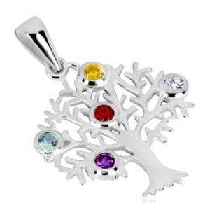 Stříbrný přívěsek 925 - strom života, rozvětvené větve, barevné zirkony S51.14