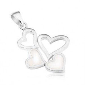 Stříbrný přívěsek 925, dvě kontury srdcí a dvě srdíčka s bílou perletí SP62.19