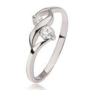 Stříbrný prsten 925 - lesklá vlnka, dva okrouhlé čiré kamínky v kotlících J7.15