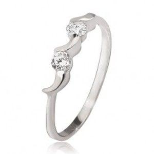 Stříbrný prsten 925 - nepravidelné měsíčky, dva kulaté čiré zirkony J9.18