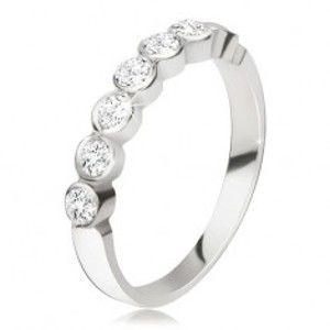 Stříbrný prsten 925 - pás kulatých čirých zirkonů v lesklých objímkách BB11.07
