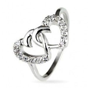 Stříbrný prsten 925 - propletená srdce vykládaná zirkony E9.6