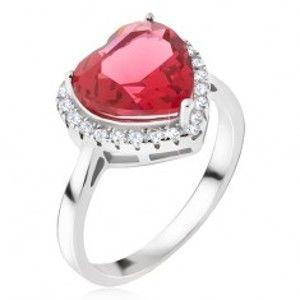 Stříbrný prsten 925 - velký červený srdcovitý kámen, zirkonový lem BB17.01