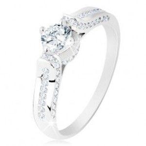 Stříbrný prsten 925, čirá zirkonová linie, kulatý zirkonek v ozdobném kotlíku S62.03