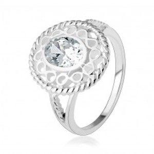 """Stříbrný prsten 925, širší kontura ze symbolů """"infinity"""", oválný čirý zirkon HH18.6"""