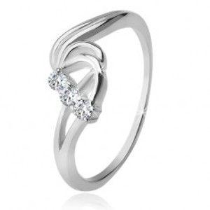 Stříbrný prsten 925, tři čiré zirkony, rozbouřené vlny F1.15