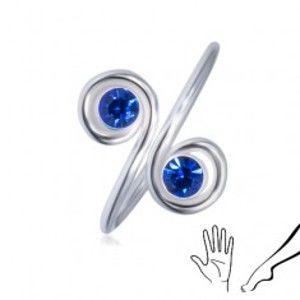 Stříbrný prsten 925 na ruku nebo nohu - dva modré zirkony ve spirálách AC1.26