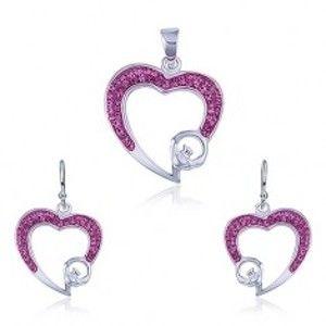 Stříbrný set 925 - přívěsek a náušnice, růžový zirkonový obrys srdce R14.9