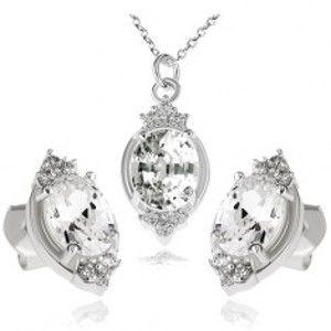 Stříbrný set 925, náhrdelník a náušnice, čirý zirkonový ovál a lístky S82.12