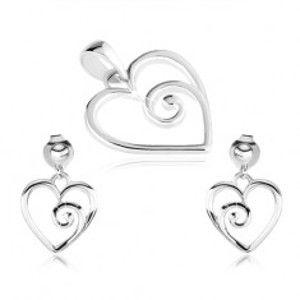 Stříbrný set 925, přívěsek a náušnice, kontura srdce se spirálou SP45.21