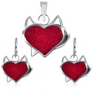Stříbrný set 925 přívěsku a náušnic - červené zirkonové srdce, čertík U9.14