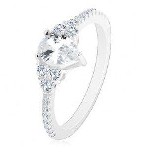 Stříbro 925 - zásnubní prsten, vroubkované okraje se zirkonky, blýskavá čirá slza J03.02