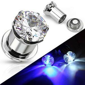 Svítící ocelový plug do ucha - kulatý čirý zirkon - Tloušťka : 12 mm, Barva: Čirá