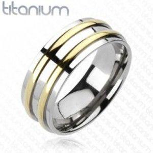 Titanový prsten - stříbrný, dva zlaté pásky F3.2