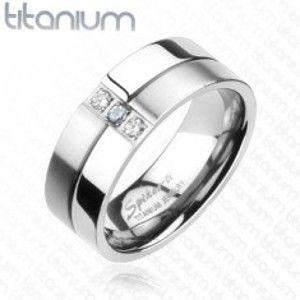 Titanový prsten - lesklé a matné proužky, zirkony F4.2