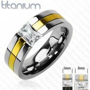 Titanový snubní prsten se zlatým pruhem a zirkonem D1.8