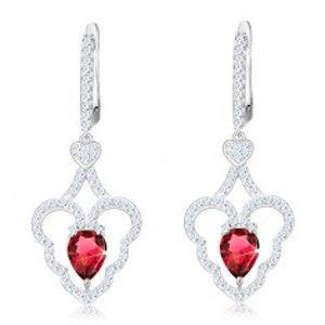 Třpytivé náušnice, stříbro 925, zvlněný obrys srdce, růžová kapka S25.31