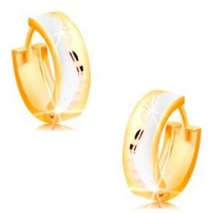 Trojbarevné kloubové náušnice ze 14K zlata - matné kroužky s blýskavou vlnkou uprostřed GG15.29