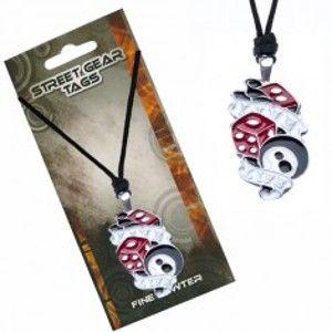 Trojbarevný náhrdelník na šňůrce - kostky, koule, nápis Live Life S2.4