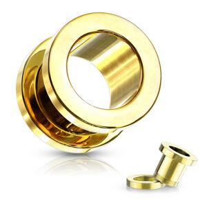 Tunel do ucha z 316L oceli - lesklý povrch zlaté barvy, PVD povrchová úprava - Tloušťka : 3 mm