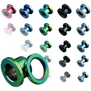 Tunel do ucha z titanu, anodizovaný, více barev se šroubováním - Tloušťka : 6 mm , Barva piercing: Černá