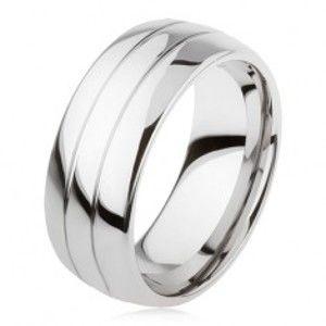 Wolframový hladký prsten, jemně vypouklý, lesklý povrch, dva zářezy AB34.10