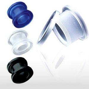 Tunnel do ucha UV akrylový se šroubkem - Tloušťka : 4 mm, Barva piercing: Černá