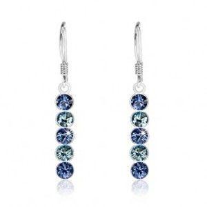 Visací náušnice, stříbro 925, krystaly Swarovski v odstínech modré barvy I28.30